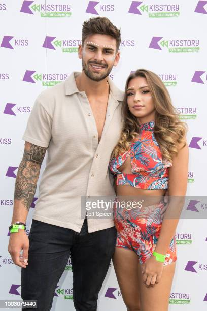 Adam Collard and Zara McDermott attend Kisstory On The Common 2018 at Streatham Common on July 21 2018 in London England