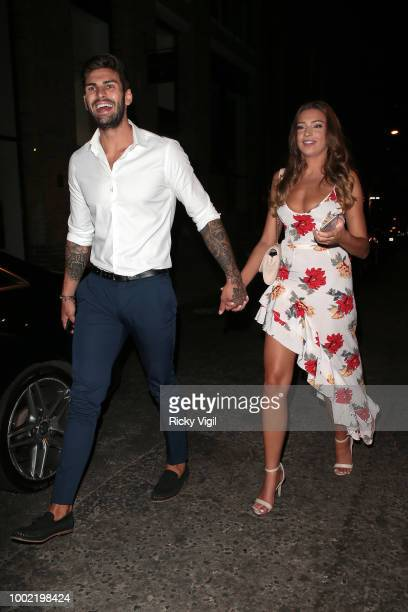 Adam Collard and Zara McDermott seen attending the ITV Summer Party at Nobu Hotel in Shoreditch on July 19 2018 in London England