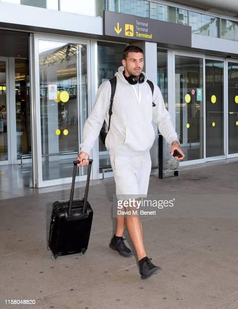 Adam Collard arrives at Malaga airport ahead of boohoo boohooMAN event on July 27 2019 in Marbella Spain