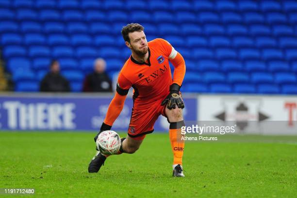 Adam Collin of Carlisle United in action during the FA Cup third round match between Cardiff City and Carlisle United at the Cardiff City Stadium on...
