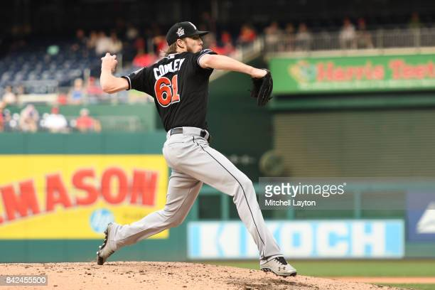 Adam Conley of the Miami Marlins pitches during a baseball game against the Washington Nationals at Nationals Park on August 30 2017 in Washington DC...