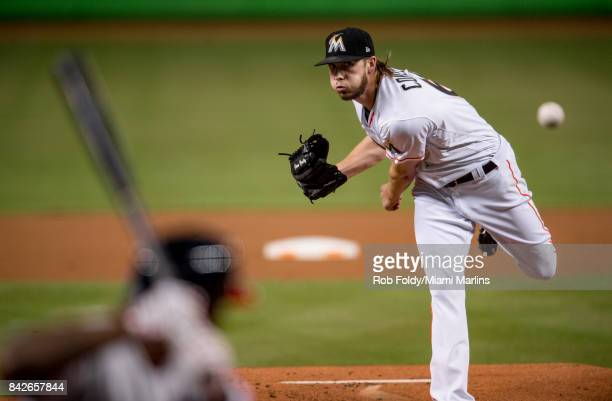 Adam Conley of the Miami Marlins pitches during the first inning of the game against the Washington Nationals at Marlins Park on September 4 2017 in...