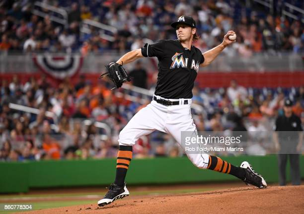 Adam Conley of the Miami Marlins pitches during the game against the New York Mets at Marlins Park on April 15 2017 in Miami Florida