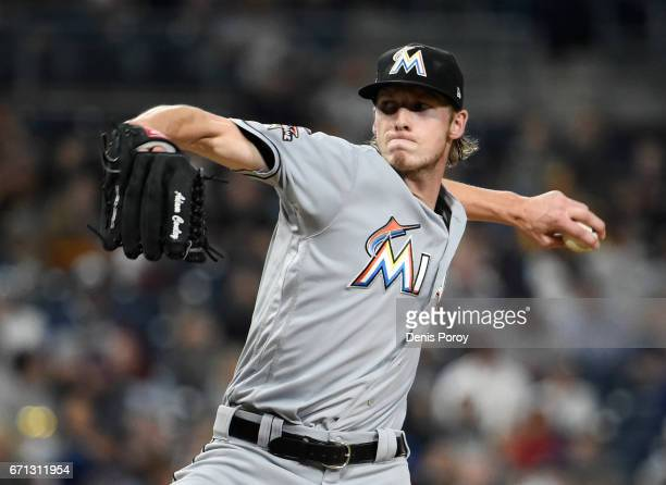 Adam Conley of the Miami Marlins pitches during the second inning of a baseball game against the San Diego Padres at PETCO Park on April 21 2017 in...