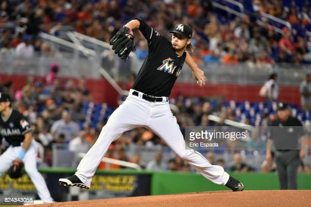 Adam Conley of the Miami Marlins throws a pitch during the first inning against the Cincinnati Reds at Marlins Park on July 29 2017 in Miami Florida