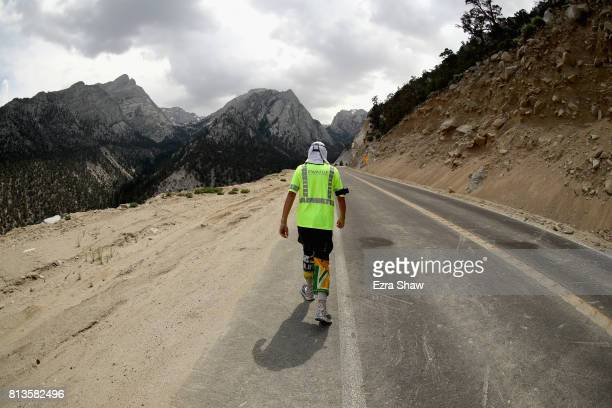 Adam Connor of Australia walks to the Whitney Portal during the STYR Labs Badwater 135 on July 12 2017 in Death Valley California The start of the...