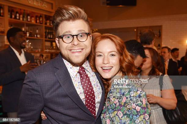 Adam Conover and Maria Thayer attend the Turner Upfront 2017 green room at Lugo Cucina Italiana on May 17 2017 in New York City 26617_005