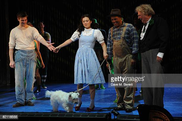 Adam Cooper Sian Brooke Gary Wilmot and Roy Hudd take their curtain call on the opening night of The Wizard of Oz at the Royal Festival Hall on July...