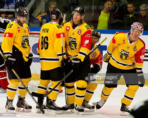 Adam Courchaine of Krefeld Pinguine celebrates scoring during the Champions Hockey League group stage game between Sonderjyske Vojens and Krefeld...