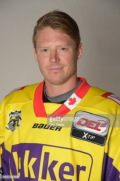 Adam Courchaine of Krefeld Pinguine during the portrait shot on august 14, 2014 in Krefeld, Germany.