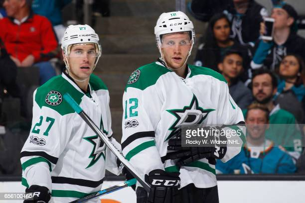 Adam Cracknell and Radek Faksa of the Dallas Stars look on during the game against the San Jose Sharks at SAP Center on March 12 2017 in San Jose...