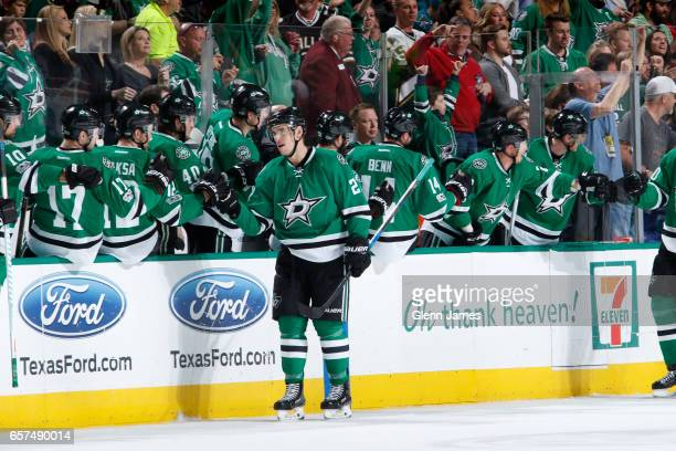 Adam Cracknell and the Dallas Stars celebrate a goal against the San Jose Sharks at the American Airlines Center on March 24 2017 in Dallas Texas