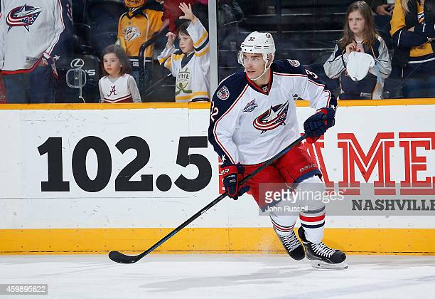 Adam Cracknell of the Columbus Blue Jackets skates in warmups prior to the game against the Nashville Predators at Bridgestone Arena on November 29...