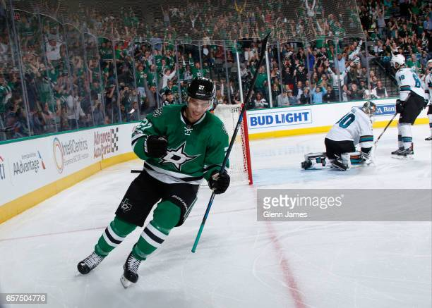 Adam Cracknell of the Dallas Stars celebrates a goal for his first career hattrick against the San Jose Sharks at the American Airlines Center on...