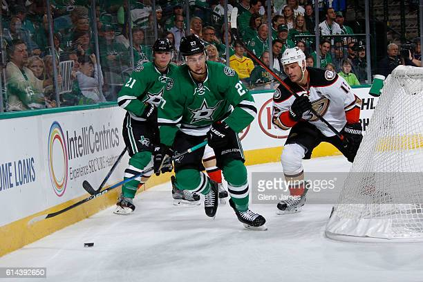 Adam Cracknell of the Dallas Stars handles the puck against the Anaheim Ducks at the American Airlines Center on October 13 2016 in Dallas Texas