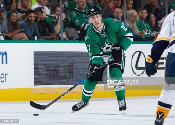 Adam Cracknell of the Dallas Stars handles the puck against the Nashville Predators at the American Airlines Center on April 6 2017 in Dallas Texas
