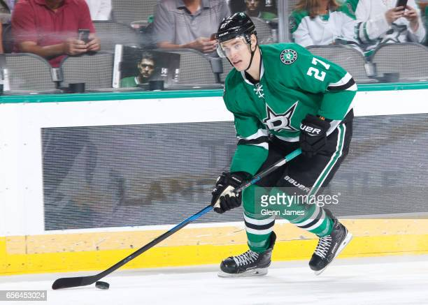 Adam Cracknell of the Dallas Stars handles the puck against the San Jose Sharks at the American Airlines Center on March 20 2017 in Dallas Texas