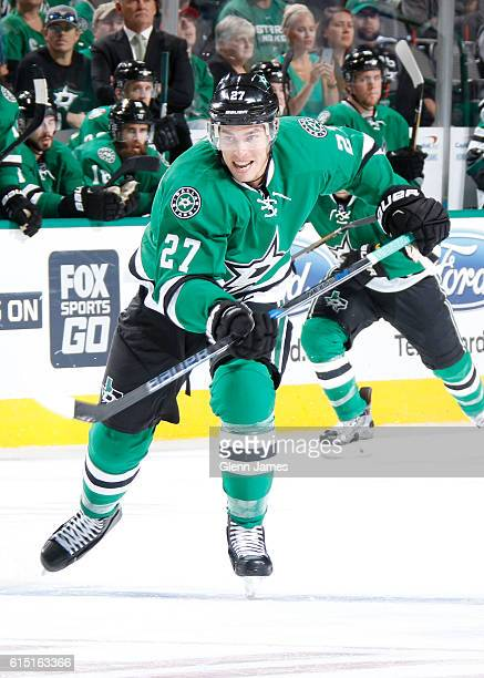 Adam Cracknell of the Dallas Stars skates against the Anaheim Ducks at the American Airlines Center on October 13 2016 in Dallas Texas