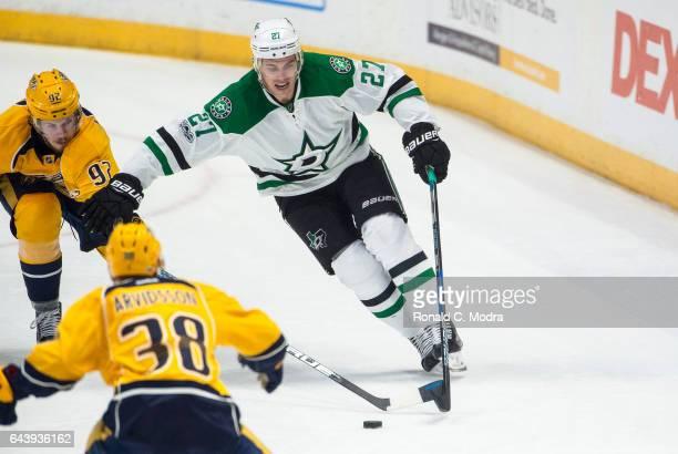 Adam Cracknell of the Dallas Stars skates against the Nashville Predators during an NHL game at Bridgestone Arena on February 12 2017 in Nashville...