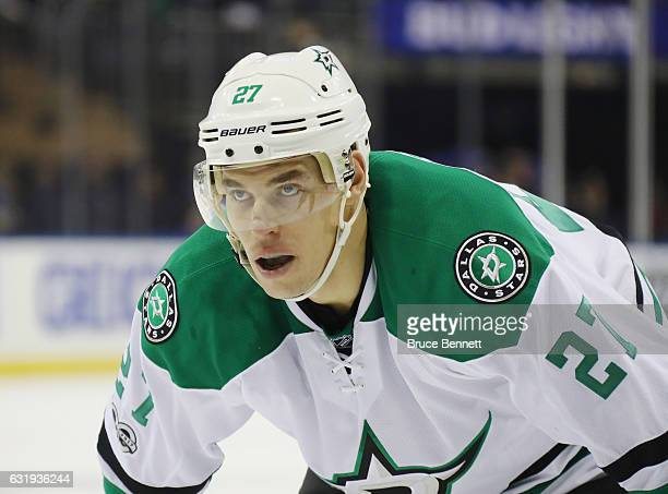 Adam Cracknell of the Dallas Stars skates against the New York Rangers at Madison Square Garden on January 17 2017 in New York City The Stars...