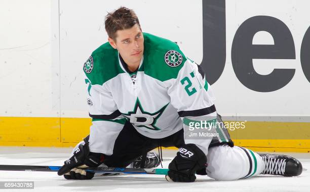 Adam Cracknell of the Dallas Stars warms up before a game against the New Jersey Devils on March 26 2017 at Prudential Center in Newark New Jersey...