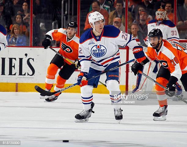 Adam Cracknell of the Edmonton Oilers skates against the Philadelphia Flyers at the Wells Fargo Center on March 3 2016 in Philadelphia Pennsylvania...