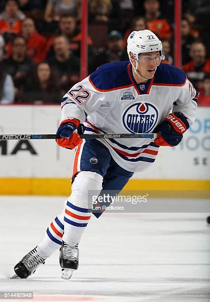 Adam Cracknell of the Edmonton Oilers skates against the Philadelphia Flyers on March 3 2016 at the Wells Fargo Center in Philadelphia Pennsylvania