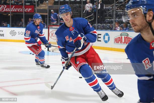 Adam Cracknell of the New York Rangers skates during warmups against the St Louis Blues at Madison Square Garden on October 10 2017 in New York City