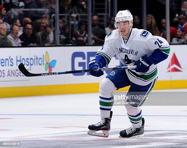 Adam Cracknell of the Vancouver Canucks skates during the game against the Los Angeles Kings at STAPLES Center on October 13 2015 in Los Angeles...