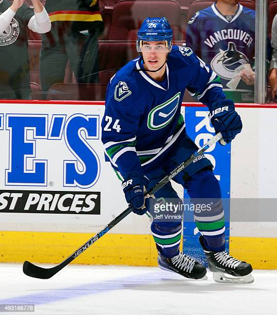 Adam Cracknell of the Vancouver Canucks skates up ice during their NHL game against the St Louis Blues at Rogers Arena October 16 2015 in Vancouver...