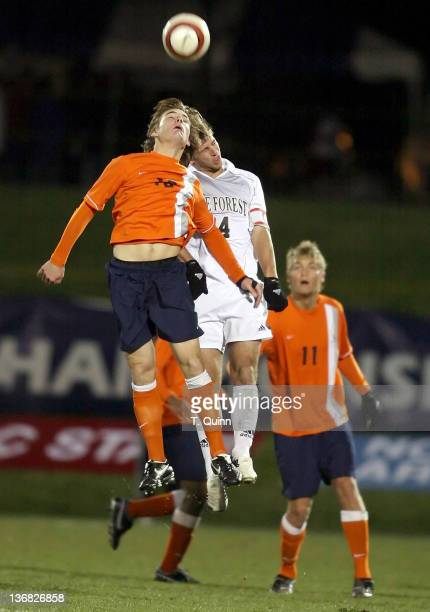 Adam Cristman and Julian Valentin go for a header during the 2006 ACC Tournament semifinal match between Wake Forest and Virginia at the Soccerplex...