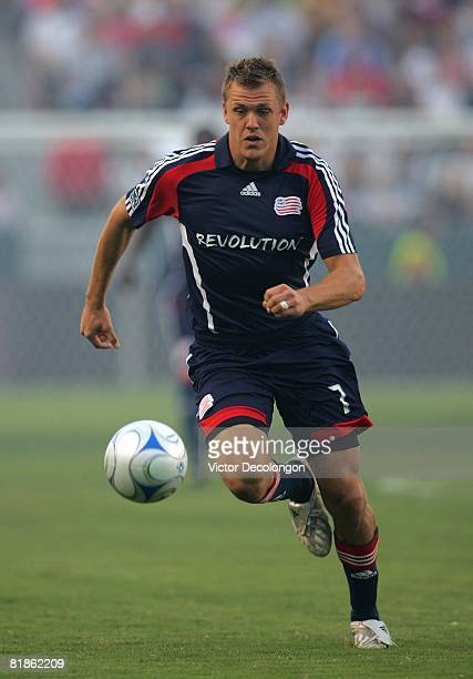 Adam Cristman of the New England Revolution runs after the ball on the attack in the first half of their MLS match against the Los Angeles Galaxy at...