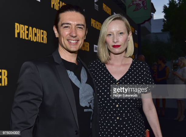 Adam Croasdell and guest arrive at the premiere of AMC's 'Preacher' Season 3 at The Hearth and Hound on June 14 2018 in Los Angeles California