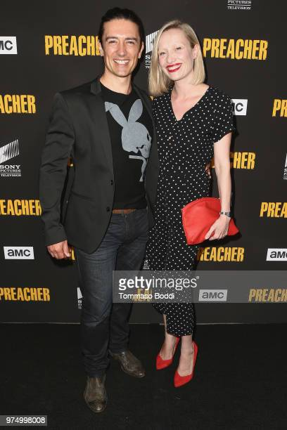Adam Croasdell and guest attend the AMC's 'Preacher' Season 3 Premiere Party at The Hearth and Hound on June 14 2018 in Los Angeles California