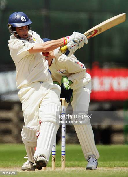 Adam Crosthwaite of the Bushrangers in action during day four of the Pura Cup match between the Victorian Bushrangers and the New South Wales Blues...