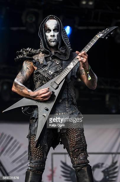 Adam Darski of Behemoth performing live on stage at Bloodstock Festivalperforming live on stage at Catton Park on August 12, 2016 in Burton upon...