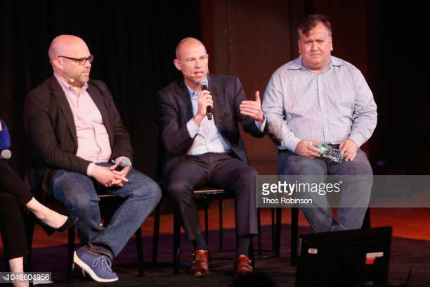Adam Davidson Michael Avenatti and David Barstow speak on stage during the Trump Inc panel at 2018 New Yorker Festival on October 6 2018 in New York...