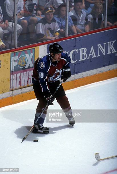 Adam Deadmarsh of the Colorado Avalanche skates on the ice during an NHL pre season game against the Philadelphia Flyers in September, 1999 at the...