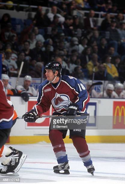 Adam Deadmarsh of the Colorado Avalanche skates on the ice during an NHL game against the New York Islanders on October 10, 1999 at the Nassau...
