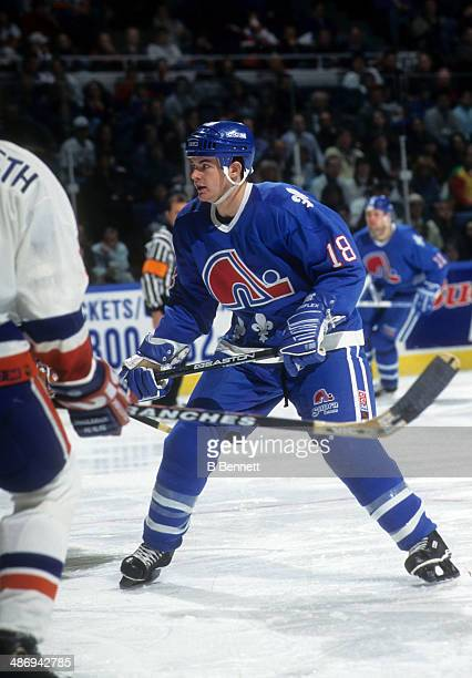 Adam Deadmarsh of the Quebec Nordiques skates on the ice during an NHL game against the New York Islanders on February 14 1995 at the Nassau Coliseum...