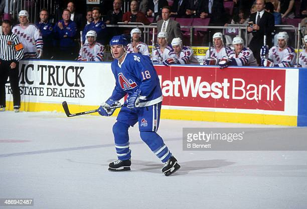 Adam Deadmarsh of the Quebec Nordiques skates on the ice during Game 6 of the Conference QuarterFinals against the New York Rangers on May 16 1995 at...