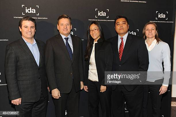 Adam Del Deo Ted Sarandos Lisa Nishimura Rob Williams and Cindy Holland arrive at the 2013 IDA Documentary Awards at the DGA Theater on December 6...