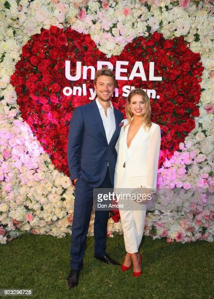 Adam Demos and Kassandra Clementi attends the UnREAL Australian Premiere Party on February 23 2018 in Sydney Australia