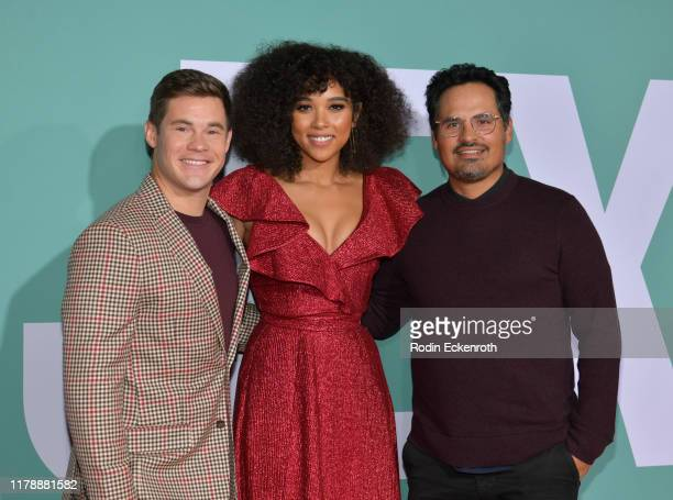 "Adam Devine, Alexandra Shipp, and Michael Pena attend the premiere of Lionsgate's ""Jexi"" at Fox Bruin Theatre on October 03, 2019 in Los Angeles,..."