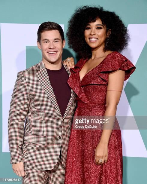 "Adam DeVine and Alexandra Shipp arrive at the Premiere Of Lionsgate's ""Jexi"" at Fox Bruin Theatre on October 3, 2019 in Los Angeles, California."