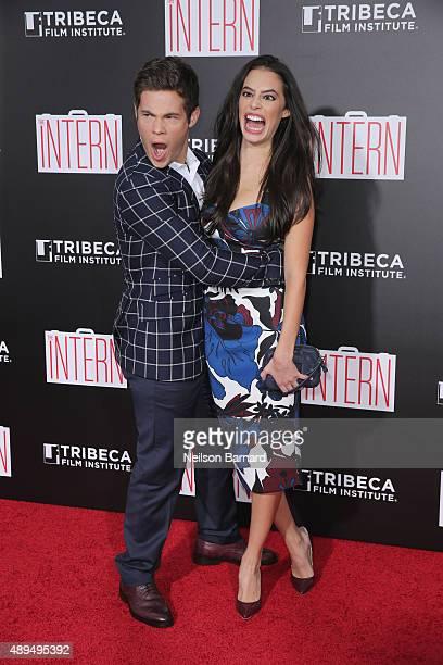 Adam Devine and Chloe Bridges attend The Intern New York Premiere at Ziegfeld Theater on September 21 2015 in New York City