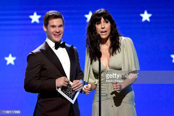 Adam DeVine and Edi Patterson speak onstage during the 25th Annual Critics' Choice Awards at Barker Hangar on January 12 2020 in Santa Monica...