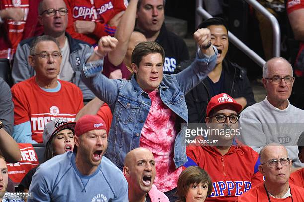 Adam DeVine and Erik Griffin attend a basketball game between the Portland Trail Blazers and the Los Angeles Clippers at Staples Center on April 27...