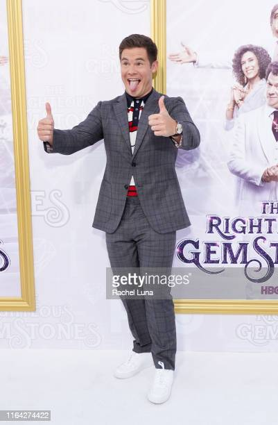 Adam DeVine attends the Los Angeles premiere of the new HBO series The Righteous Gemstones at Paramount Studios on July 25 2019 in Hollywood...