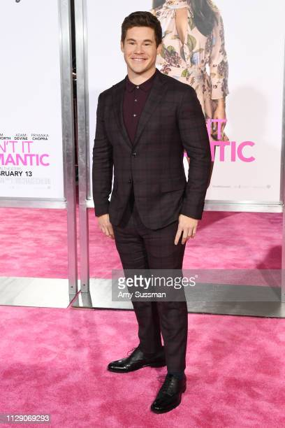 Adam Devine attends the premiere of Isn't It Romantic at The Theatre at Ace Hotel on February 11, 2019 in Los Angeles, California.